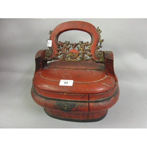 64 - Chinese red lacquered and gilded wedding basket...