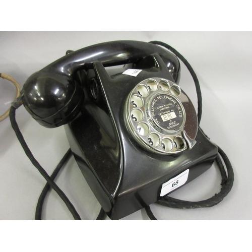 68 - 1950's G.E.C. black Bakelite telephone...