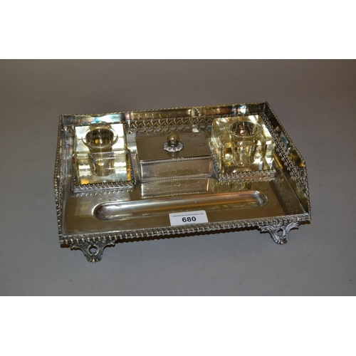 680 - Early 20th Century rectangular silver plated two bottle inkstand with central stamp box (minus ink b...