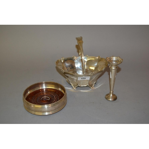 696 - Sheffield silver basket shaped vase, silver specimen vase and a modern silver coaster...