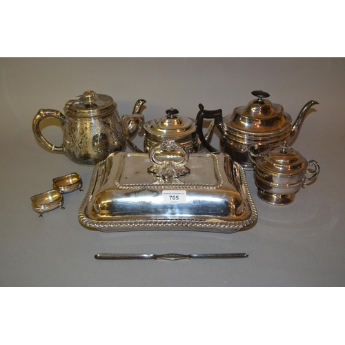 705 - Three silver plated teapots, entree dish, pair of salts, marrow scoop and sugar bowl with cover...