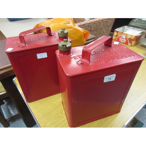 71 - Two Valor red petrol cans with brass screw caps...