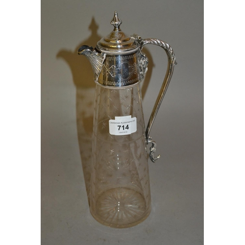 714 - 19th Century cut glass and silver plated claret jug...