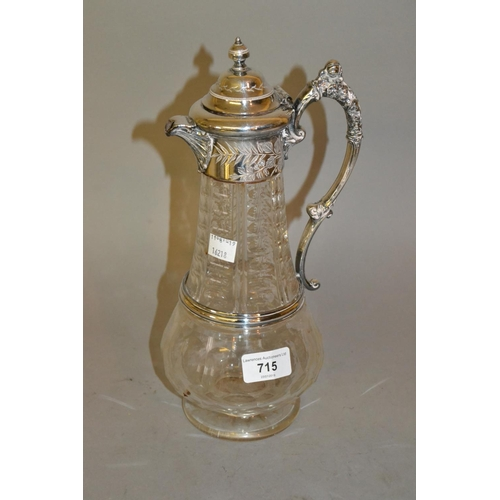 715 - 19th Century silver plated and cut glass pedestal claret jug...