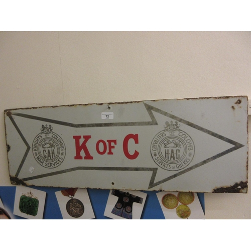 72 - Canadian Knights of Columbus war services enamel sign...