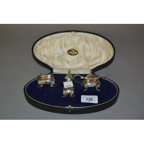 720 - Birmingham silver three piece condiment set in original fitted box...