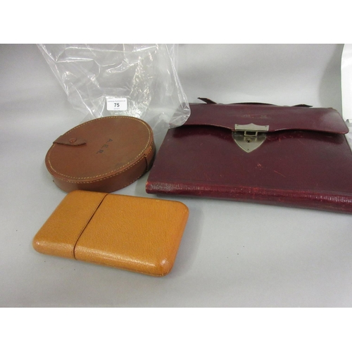 75 - Leather cigar case, collar case and a writing case...