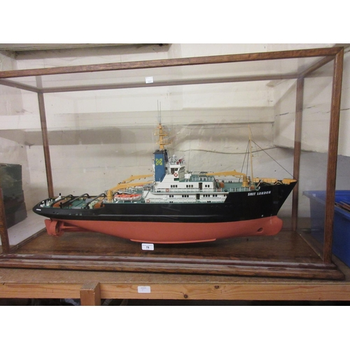 78 - Large scale model of Smit London Salvage tug housed in an oak and Perspex display cabinet...