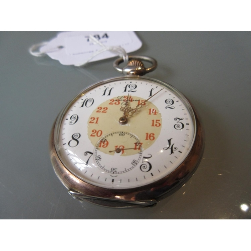784 - Longines  Continental silver cased crown wind open faced pocket watch with nielo decoration...