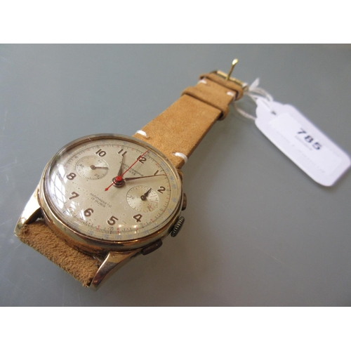 785 - Swiss 18ct gold cased Chronograph wrist watch, the silvered dial with Arabic numerals, two subsidiar...