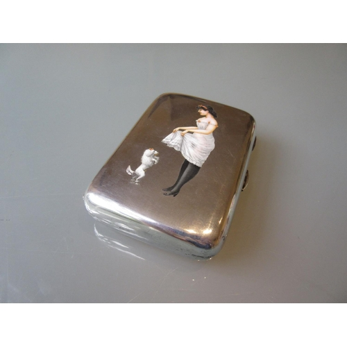 786 - Unusual Birmingham silver cigar case the cover having enamel decoration of a lady in a nightdress wi...