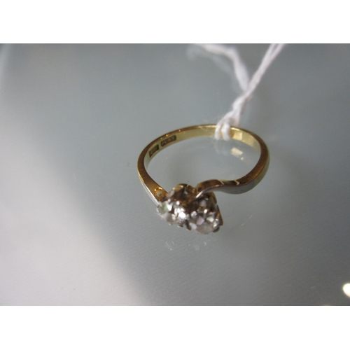 799 - 18ct Yellow gold and platinum set two stone diamond crossover ring...