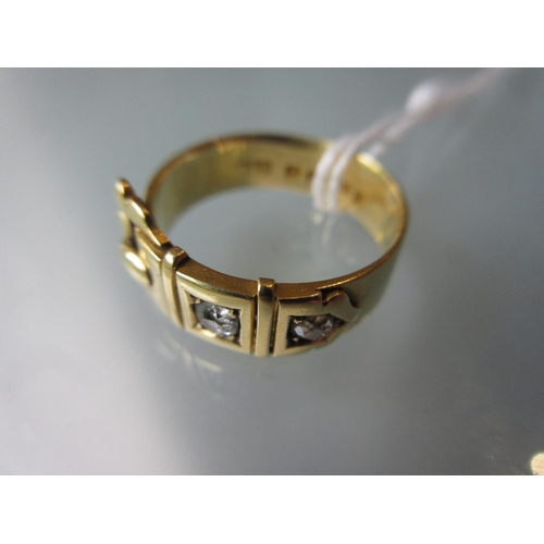 801 - 18ct Yellow gold and diamond set buckle design ring...