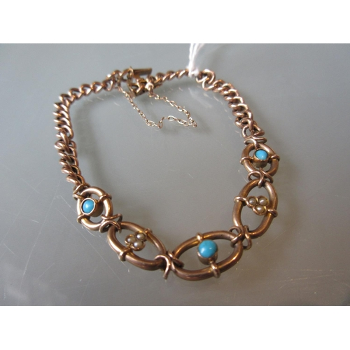 803 - 9ct Rose gold, turquoise and split pearl set curb link and oval link design bracelet...