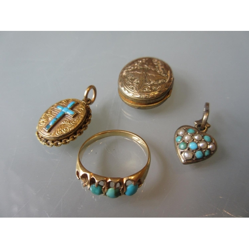 804 - Yellow metal and turquoise set ring (at fault), together with three similar lockets...
