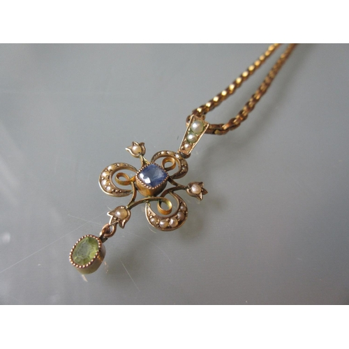 809 - Edwardian yellow metal sapphire, peridot and split pearl pendant on a 9ct rose gold anchor link chai...