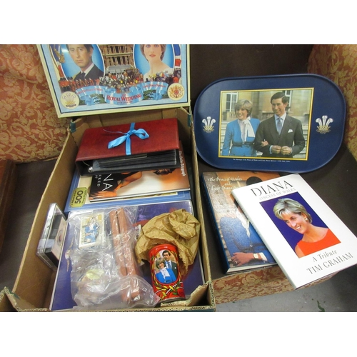 81 - Quantity of Charles and Diana commemorative ephemera together with a quantity of mainly Royal commem...