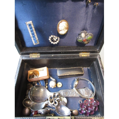 816 - Ladies 9ct gold cased wristwatch and miscellaneous other items of silver, paste and other costume je...