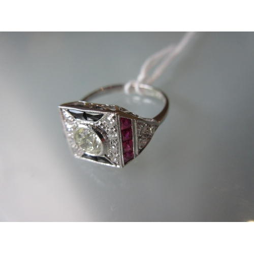 818 - 18ct White gold ruby, onyx and diamond set ring, size 0 1/2...