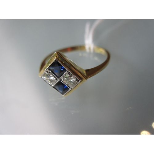 819 - 18ct Yellow gold Art Deco style sapphire and diamond set ring, size P...