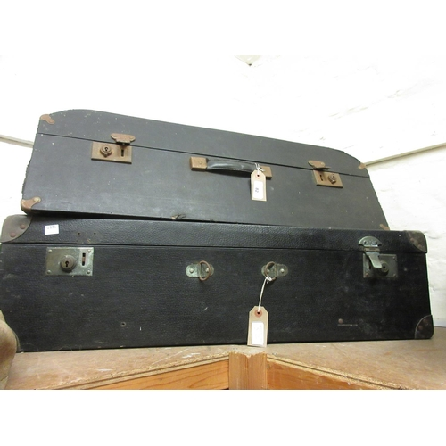 82 - Early 20th Century wooden leatherette covered car trunk and another similar...