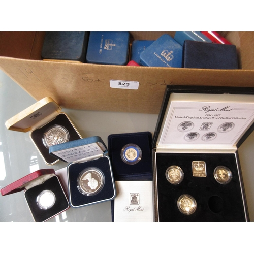 823 - Collection of nineteen various cased silver proof coins, together with a Royal Mint one pound silver...