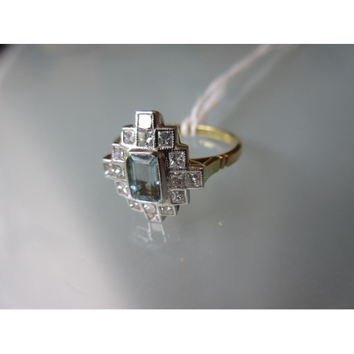 830 - 18ct Yellow gold aquamarine and diamond set ring , size Q 1/2...