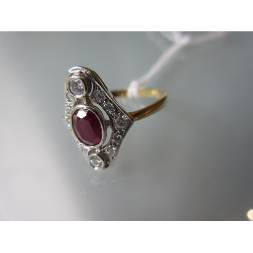 831 - 18ct Yellow gold Art Deco style ruby and diamond set ring , size M...
