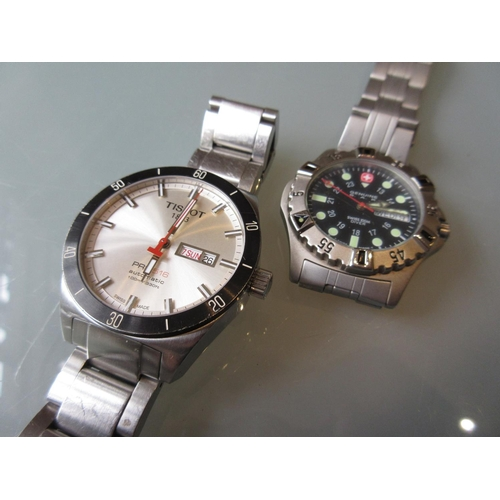 832 - Gentleman's Tissot, stainless steel wristwatch, model PRS 516, the silvered dial with calendar apert...