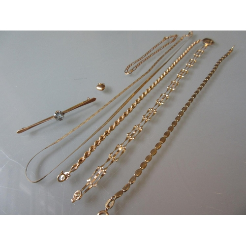 834 - Four various 9ct gold bracelets, a 9ct gold necklace, a 9ct gold bar brooch and small heart shaped c...
