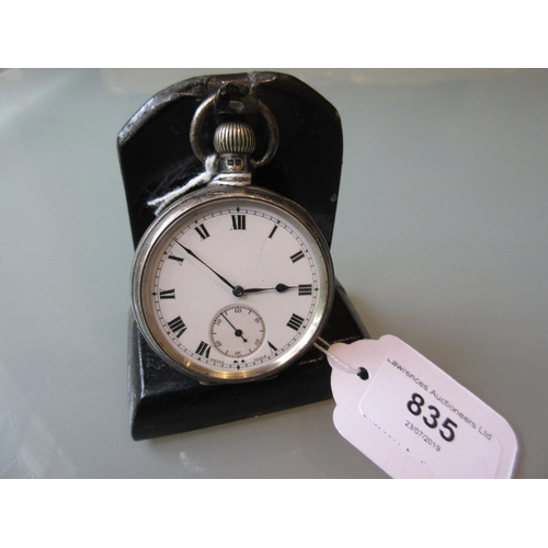 835 - English silver cased crown wind pocket watch, the enamel dial with Roman numerals and subsidiary sec...
