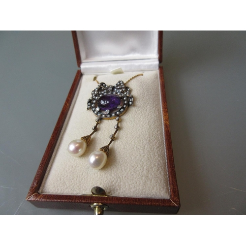 838 - Cabochon amethyst, seed pearl and diamond set necklace...