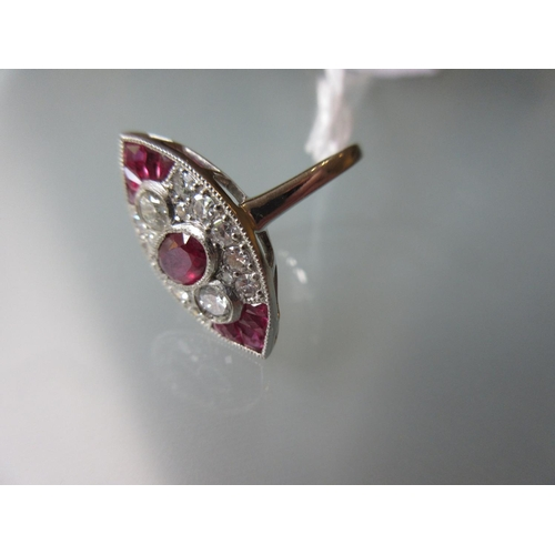 839 - Platinum, ruby and diamond marquese shaped panel ring...