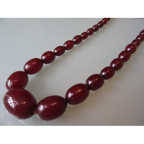 840 - Cherry amber graduated bead necklace...