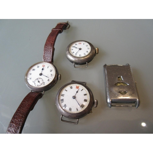 849 - Three silver cased wristwatches (at fault), together with a rectangular steel wristwatch (at fault)...