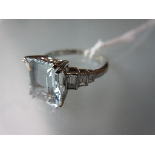 861 - Platinum aquamarine and diamond set ring in Art Deco style (0.40ct/3.30ct) size P 1/2...