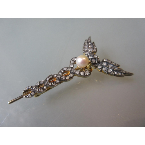 871 - Caduceus style brooch set diamonds and a cultured pearl...