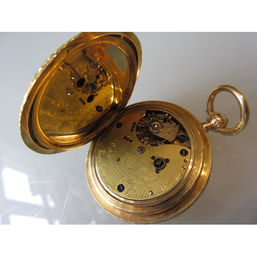 874 - Victorian 18ct gold cased full hunter fob watch by Dent, the floral engraved case enclosing a two co...
