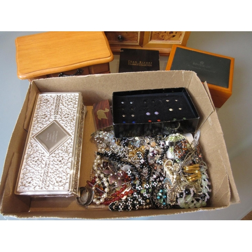 887 - Box containing a quantity of various costume jewellery and jewellery boxes...