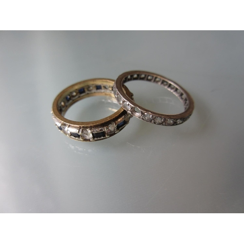 898 - 9ct Yellow gold full eternity ring together with another full eternity ring...