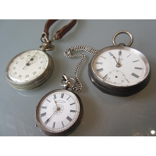 899 - Silver plated WWII Air Ministry pocket stopwatch with leather strap numbered 6B/221, Waltham silver ...