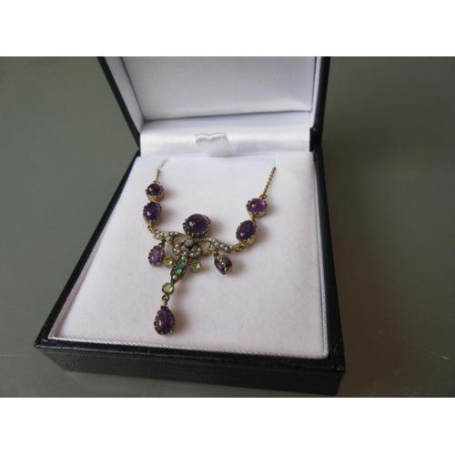 906 - Cabochon amethyst, diamond, peridot and emerald set necklace...