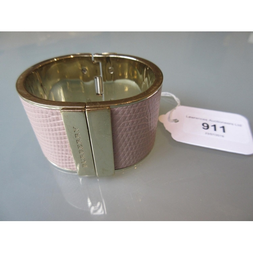 911 - Burberry pink leather hinged cuff bracelet with gold tone brass surround...