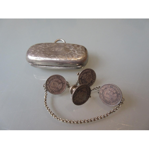 912 - Silver Sovereign / half Sovereign case together with a Portuguese coin set chain...