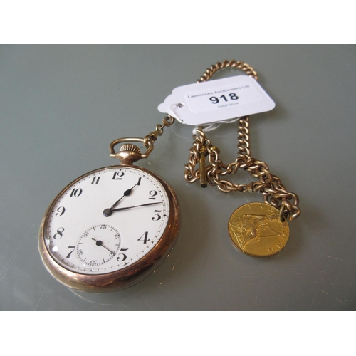 918 - Gentlemans gold plated open face pocket watch having dial with subsidiary seconds and a gold plated ...