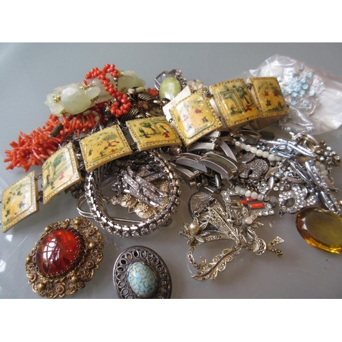 938 - Two natural coral necklaces, Persian painted bone belt and a small quantity of other jewellery...