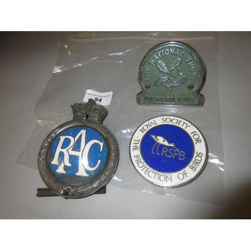 94 - R.A.C. car badge and two others...
