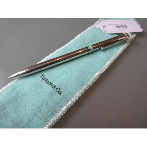 945 - Tiffany and Company silver cased ballpoint pen with dust cover...