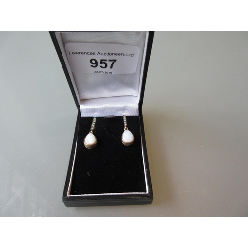 957 - Pair of 9ct gold and opal earrings...