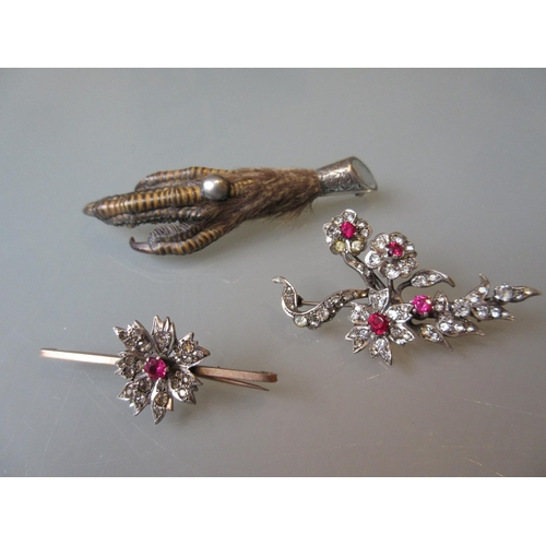 959 - Victorian silver mounted birds claw brooch and two paste brooches...